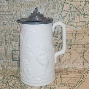 Vintage/Antique Stoneware Pitcher w/ Pewter Lid